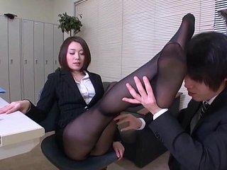 Asiatisch Büro Strumpfhose Fick